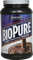 Biopure™ Whey Protein Isolate Chocolate Dream <p><strong>From the Manufacturer's Label:</strong></p><p>Biopure™ Whey Protein Isolate is manufactured by Biochem® Sports.</p> 2 lbs Powder  $32.49