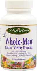Rhino™ <p><strong>From the Manufacturer's Label:</strong></p><p>Paradise Rhino formula is a 100% natural holistic extract capturing the true essence of the whole herb, therefore retaining all of its active and synergistic constituents in a truly potent full spectrum form the way nature intended.**</p> 60 Vegi Caps  $11.99