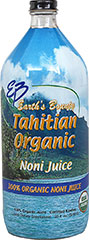 Organic Tahitian Noni <p>From the Manufacturer's Label:<br /><br />100% Organic Noni Juice<br /><br />Earth's Bounty Tahitian Organic Noni Juice has only one ingredient-Certified Organic Noni  Juice.  It is that simple.  Nothing is ever added - Only pure juice fresh from nature.  Never reconstituted- always fresh.<br /><br />At Earth's Bounty each Noni is picked at the peak of ripeness and then specially pr