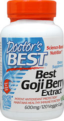 Best Goji Berry Extract 600 mg <p><strong>From the Manufacturer's Label: </strong></p><p>Goji berry is an ancient fruit found growing in the wild in the Himalayan regions of Asia. Traditional herbalists have recognized the various benefits of the Goji berry. Doctor's Best Goji Berry Extract maintains immune function and antioxidant protection.<br /></p> 120 Vegi Caps 600 mg