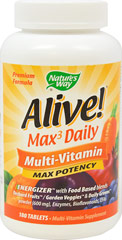 Alive!® Multivitamins <p><strong>From the Manufacturer's Label: </strong></p><p>Alive! nutrients are better absorbed into your blood stream because its tablets disintegrate up to 5X faster than other leading brands.</p><p>Manufactured by NATURE'S WAY.</p> 180 Tablets  $27.99