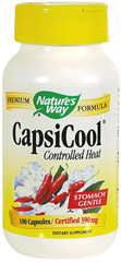 Capsicool® <p><strong>From the Manufacturer's Label: </strong></p><p>CapsiCool® provides the benefits of Cayenne (40,000 Heat Units) without causing burning or stomach discomfort. The CapsiCool® System uses Ginger and Glucomannan to gently control the heat of Cayenne.</p><p>Manufactured by NATURE'S WAY.</p> 100 Capsules 780 mg $6.99