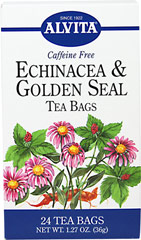 Echinacea & Goldenseal Tea <p><strong>From the Manufacturer:</strong></p><p>Caffeine Free<br /></p><p>Echinacea and Goldenseal have been used extensively for their many benefits. Alvita only uses the finest of herbs, perfect for any time of day to drink a delicious cup of tea!<br /></p> 24 Tea Bags  $13.99