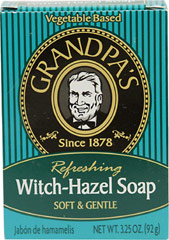 "Grandpa's Witch Hazel Soap <p><strong>From the Manufacturer's Label</strong></p><p>Soft & Gentle</p><p>""Naturally Refreshing""</p><p>Witch-Hazel Soap is an extremely mild soap that you can use every day.  Ever since Native Americans introduced the early settlers to the medicinal value of Witch-Hazel (Hamamelis virginiana), it has become a staple in most medicine cabinets.  The astringent property of witch-hazel makes"