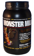 Monster Milk Vanilla <p><strong>From the Manufacturer's Label: </strong></p><p>22.5g EAA's (Essential Amino Acids)</p><p>11.8g BCAA's (Branched Chain Amino Acids)</p><p>13g L-Glutamine</p><p>500 mg Aminogen®</p><p>Naturally and Artificially Flavored</p><p>Lactose Free</p><p>Manufactured by Cytosport.</p> 2.22 lbs Powder  $28.31