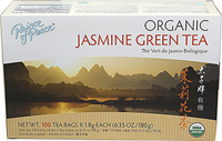 Organic Jasmine Green Tea <strong></strong><p><strong>From the Manufacturer:</strong></p><p>Jasmine Green Tea is one of the most popular teas in China. Jasmine is picked in the heat of the day, when the flowers are closed tight.  When Jasmine blossoms are blended with the green tea leaves, they create this fragrant and refreshing tea.  It also offers a large number of health benefits.</p> 100 Tea Bags  $12.59