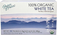 100% Organic White Tea <p><strong>From the Manufacturer's Label: </strong></p><p>It warms my heart to know you're making a good choice. Prince of Peace® 100% Organic White Tea is indeed a good choice: good to your taste, good to your budget, and most of all, good for your health! You'll enjoy its delightful flavor as it calms, refreshes and warms you. With minimal processing, White tea's antioxidant property is significantly more than green tea.</p> 1
