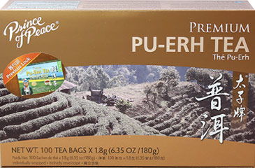 Premium Pu-Erh Tea <strong></strong><p><strong>From the Manufacturer:</strong></p><p>Prince of Peace Pu-Erh Tea is freshly harvested from a tea plantation that uses one of the finest teas from China. This Pu-Erh Tea undergoes a full oxidation (fermentation) process which causes the leaves to turn black and gives them their characteristic flavor and aroma.  Pu-Erh Tea is a popular, delicious tea you can enjoy any time of day!<br /></p> 100 Tea