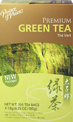 Premium Green Tea <strong></strong><p><strong>From the Manufacturer:</strong></p><p>Green Tea has been known to offer a large number of health benefits. Our young tender Premium Green Tea is freshly harvested from a tea plantation in China.  The leaves are then gently washed, steamed, rolled and dried to retain their delicate flavor and aroma.</p> 100 Tea Bags  $11.99
