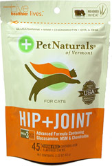 Hip and Joint Soft Chews for Cats <p><b>From the Manufacturer's Label: </p></b><p>Sugar Free</p> <p>Chicken Liver Flavored Soft Chews</p> <p>Omega 3 Fatty Acids</p> <p>Advanced Formula Containing Glucosamine, MSM & Chondroitin</p>  45 Chews  $12.99