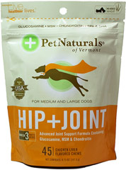 Hip And Joint Soft Chews for Dogs <p><b>From the Manufacturer's Label: </p></b><p>Sugar Free</p> <p>Chicken Liver Flavored Soft Chews</p> <p>Omega 3 Fatty Acids</p> <p>Advanced Formula Containing Glucosamine, MSM & Chondroitin</p>  <p>Fido losing his flex? Give those squirrels another run for their money. Our Hip + Joint Formula has high quality ingredients that are properly balanced for optimal results.</p&