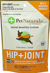 Hip And Joint Soft Chews for Small Dogs <p><b>From the Manufacturer's Label: </p></b><p>Sugar Free</p> <p>Chicken Liver Flavored Soft Chews</p> <p>Omega 3 Fatty Acids</p> <p>Advanced Formula Containing Glucosamine, MSM & Chondroitin</p>  45 Chews  $12.99