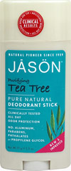 Jason® Tea Tree Deodorant Stick <p><strong>From the Manufacturer's Label:</strong></p><strong>Superior Tea Tree Odor Protection</strong><p></p><p><strong>Aluminum Free</strong></p><p>Renowned for its antifungal properties, Organic Tea Tree Oil helps rid the body of odor-producing bacteria caused by perspiration. Provides long lasting odor protection with Bisabolol (derived from Chamomile) and Rice. </p><p