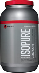Isopure Zero Carb Whey Protein Isolate Strawberry & Cream <p><b>From the Manufacturer's Label: </p></b> <p>Nature's Best Zero Carb Isopure contains 50 grams of 100% Ion Exchange Whey Protein Isolate. Any and all impurities typically found in most whey proteins have been removed to provide you with a great tasting, lactose free, fat free, glutamine enriched, state of the art carbohydrate free protein supplement.</p> 3 lbs Powder  $40.99