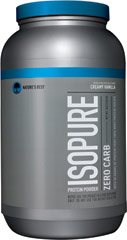 Isopure Zero Carb Whey Protein Isolate Creamy Vanilla <p><strong>From the Manufacturer's Label: </strong></p><p>Nature's Best Zero Carb Isopure contains 50 grams of 100% Ion Exchange Whey Protein Isolate. Any and all impurities typically found in most whey proteins have been removed to provide you with a great tasting, lactose free, fat free, glutamine enriched, state of the art carbohydrate free protein supplement.</p> 3 lbs Powder  $40.99