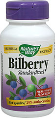 Bilberry Standardized Extract 80 mg <p><strong>From the Manufacturer's Label:</strong></p><p>Healthy Eye Function**<br /><br />Bilberry Extract is standardized to 25% anthocyanins to support visual adaptation to light, improve microcirculation, promote healthy connective tissues and provide antioxidant protection to the eyes.**<br /><br />Manufactured by Nature's Way</p><p></p><p></p><p></p> 90 Ca