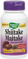 Shiitake & Maitake Standardized Extract <p><strong>From the Manufacturer's Label:</strong></p><p>Shiitake & Maitake is manufactured by Nature's Way.</p> 60 Capsules  $9.99