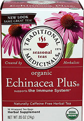 Organic Echinacea Plus® Tea <p><strong>From the Manufacturer's Label:</strong></p><p>Echinacea Plus Organic Tea from Traditional Medicinals is truly high quality tea that has echinacea which will leave your tongue tingling after drinking. The tingling subsides quickly, but echinacea's effects won't. This delicious tea has a kick that will leave you wanting more!<br /></p> 16 Tea Bags