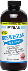 Norwegian Cod Liver Oil Cherry <p><strong></strong><strong>From the Manufacturer's Label: </strong><br /></p><p>Twinlab Norwegian Cod Liver Oil supplies the fatty acids EPA and DHA.  Molecularly distilled fish oil is quality tested for purity. Cherry Flavor.<br /><br />Manufactured by TwinLab</p><p></p><p></p> 12 fl oz Liquid  $8.74