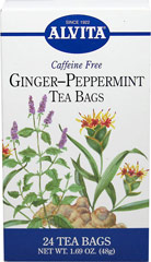 "Ginger Peppermint Tea <b><p>From the Manufacturer:</b></p> <p>Caffeine Free</p> <p>With a recorded history in China dating form the 4th century B.C, Ginger (Zingiber officinale) has been used extensively throughout the centuries for both culinary and health purposes. The name Ginger is derived from the Sanskrit ""gringa"" or horn and ""vera"" meaning body, in reference to the shape of the root. Peppermint (Mentha x piperita) is a universa"