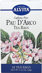 Pau D' Arco Tea <strong></strong><p><strong>From the Manufacturer:</strong></p><p>Caffeine Free</p><p>Pau D'Arco is found from a hardy, deciduous tree.  Pau D'Arco is enjoyed for its beneficial properties. Alvita is known for producing teas that are high quality and from the finest herbs.<br /></p> 24 Tea Bags  $9.99