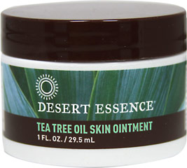 Tea Tree Oil Skin Ointment <p><b>From the Manufacturer's Label:</b></p><p>Desert Essence® Tea Tree Oil Skin Ointment contains a blend of natural oils enriched with vitamin E and infused with relaxing and soothing Lavender Oil.</p> <p>Manufactured by Desert Essence®.</p> 1 oz Ointment  $4.79