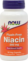 "Flush-Free Niacin 250 mg <p><strong>From the Manufacturer's Label:</strong></p><p>Inositol Hexanicotinate is a stable, non-flushing source of Niacin. This superior source of Niacin works to reduce the common ""niacin-flush"" problems associated with high doses of Niacin supplements.</p><p>Manufactured by NOW® Foods.</p><p></p><p></p> 90 Vegi Caps 250 mg $6.49"
