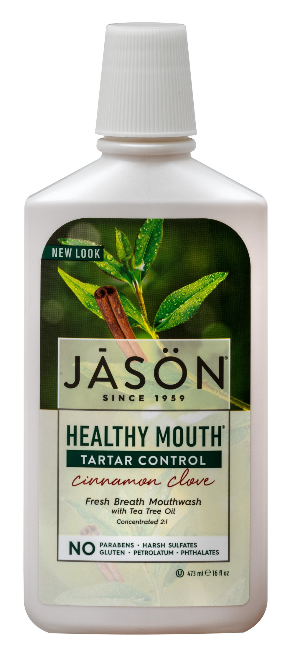 Jason® Healthy Mouth® Tea Tree & Cinnamon Mouthwash <p><strong>From the Manufacturer:</strong></p><p>Freshens your breath and keep your Mouth Healthy, without harsh abrasives or irritating chemicals</p><p>Concentrated 2:1</p>If reduced intensity is desired, dilute one part mouthwash with one part water before use.  <p>Certified Organic Tea Tree Oil and Aloe Vera Gel</p><p>Natural Clove & Cinnamon Oils</p&g