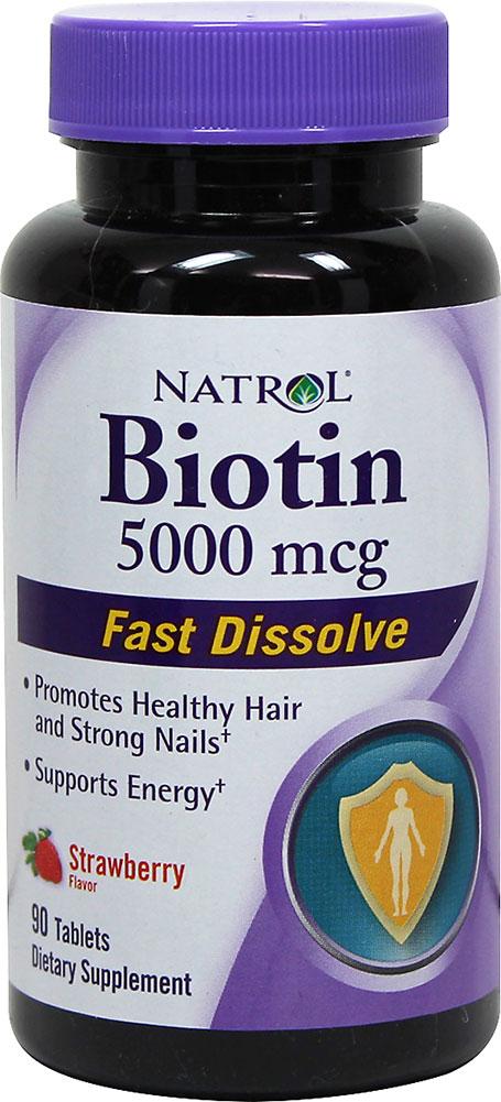 Biotin 5000 mcg Fast Dissolve Strawberry Tablets 90 ...