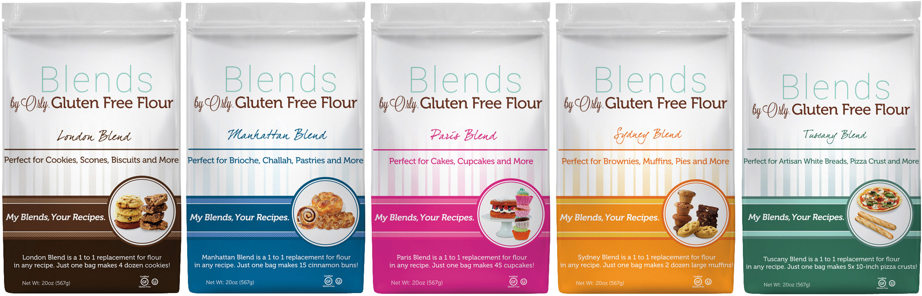 Blends by Orly Gluten Free Flour Variety Pack - 5 Bags 012776