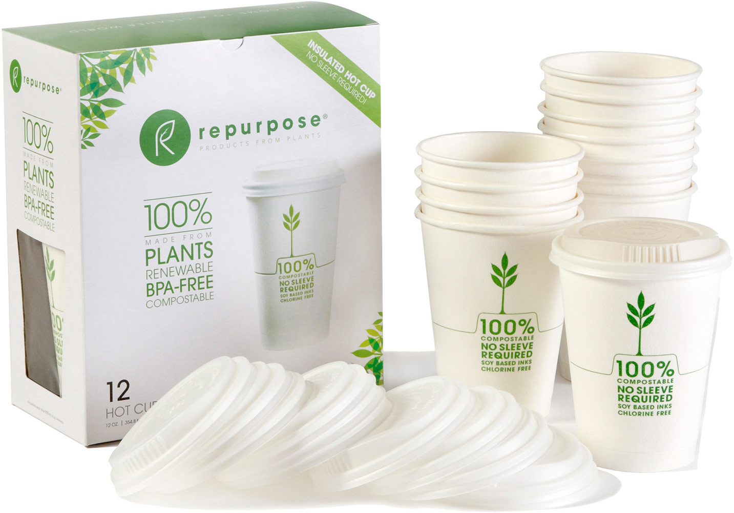 Repurpose Insulated Hot Cups with Lids - 12 Packs-12 Packs 014990