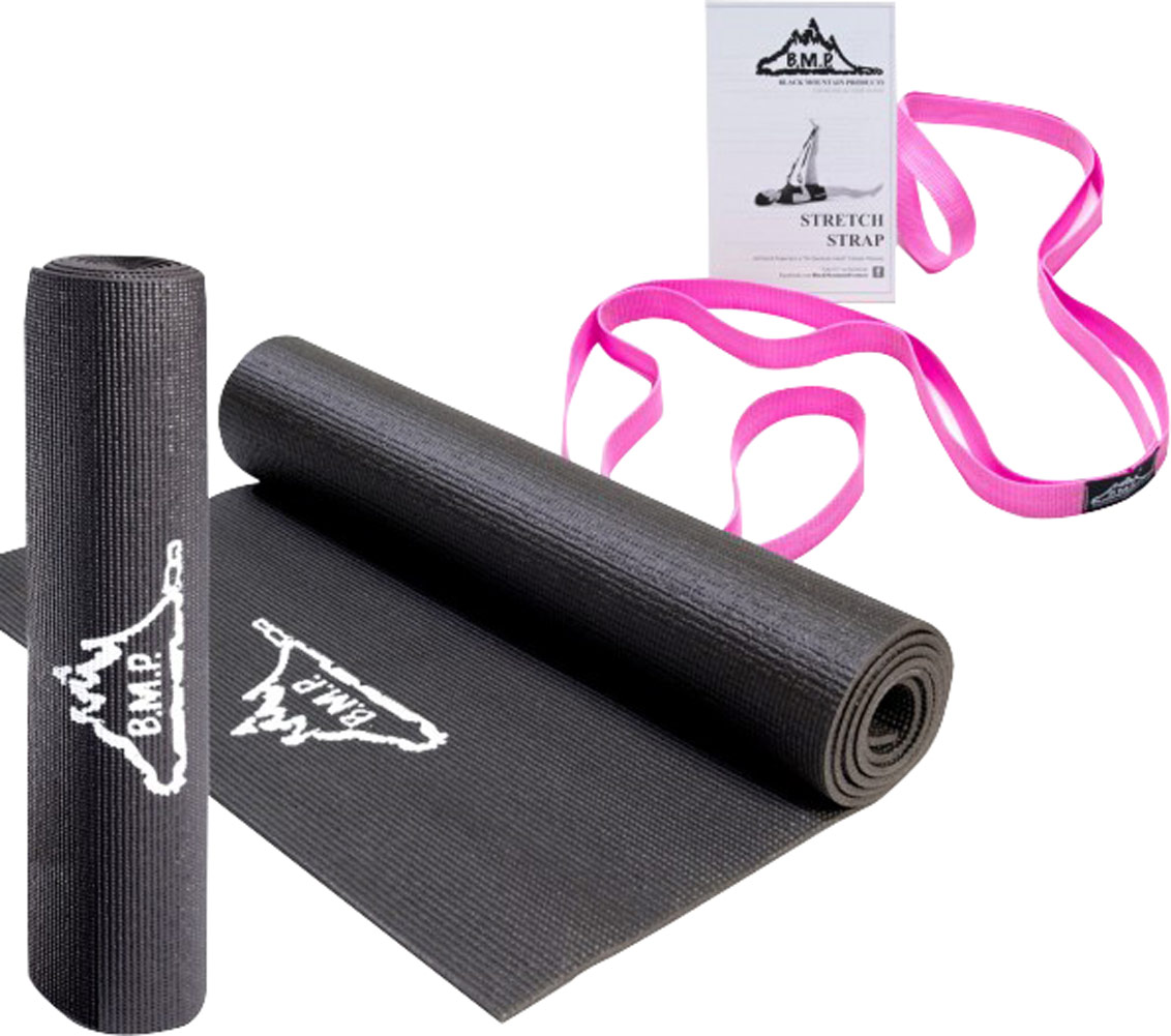 Black Mountain Products Yoga Starter Kit including Black Yoga Mat and Pink Yoga Stretch Strap-1 Kit 019417