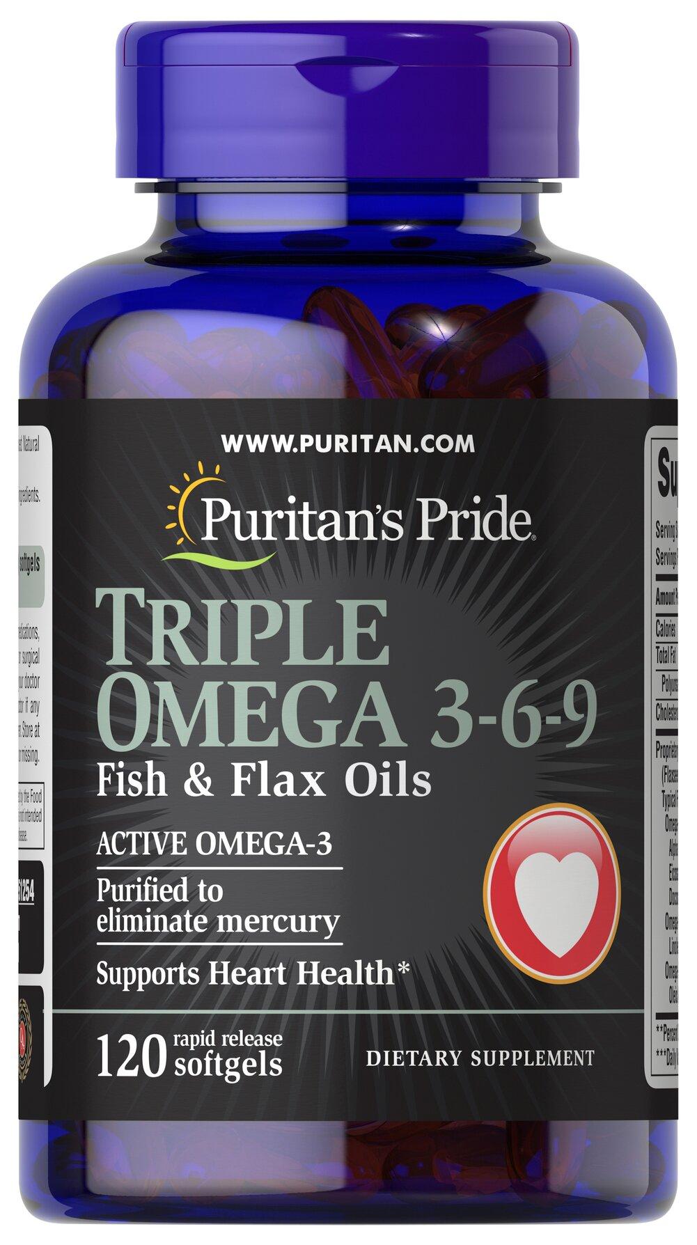 Triple omega 3 6 9 fish flax oils 120 softgels fish for Fish oil 3 6 9